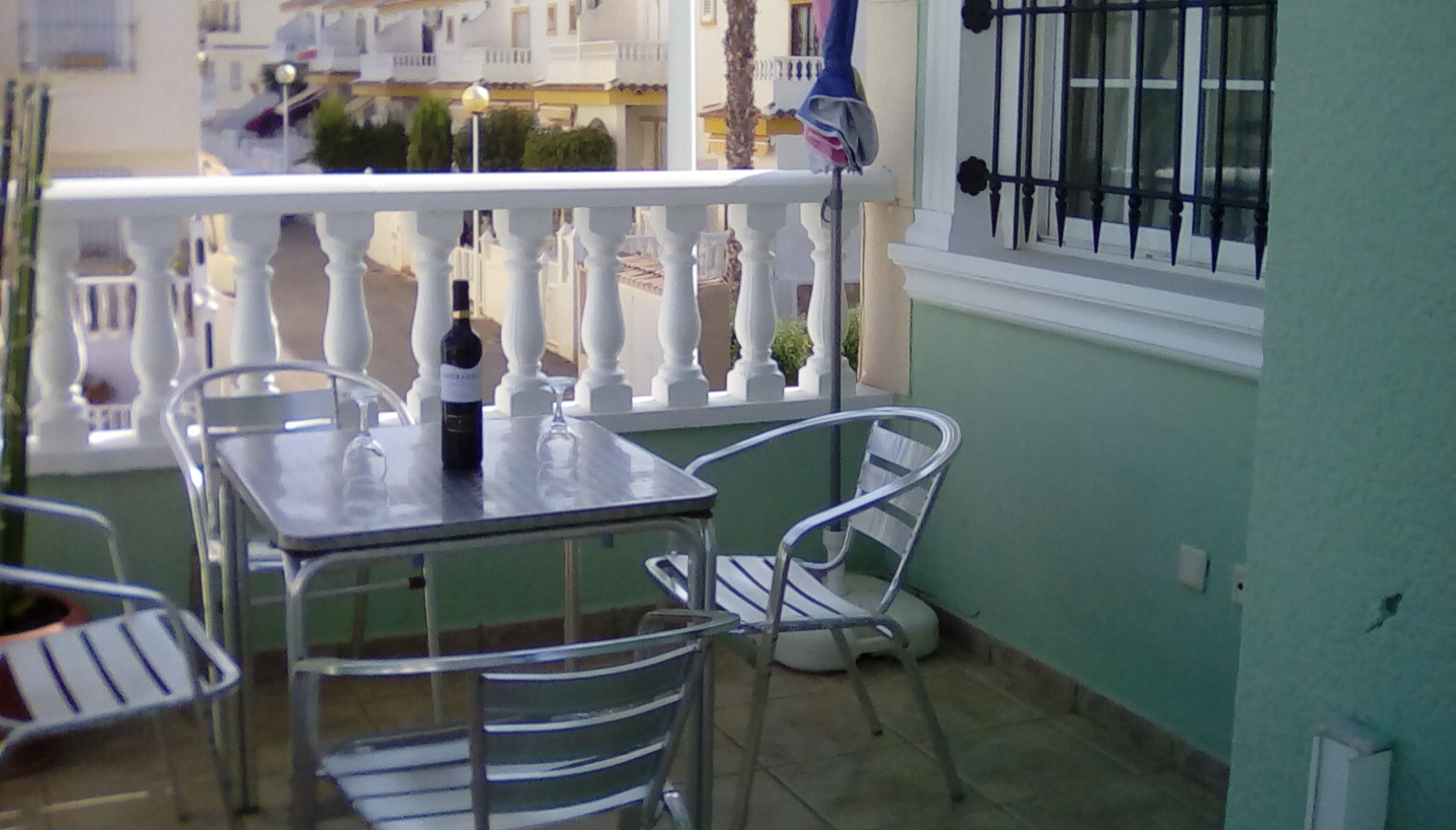 The downstairs terrace